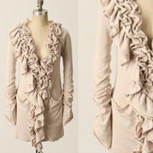 Anthropologie Moth Plaza Ruffle Cardigan Cashmere